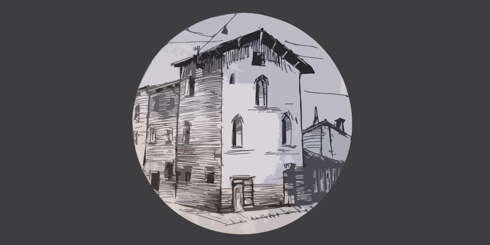 Soncino, disegno della casa degli stampatori ebrei © Alberto Jona Falco