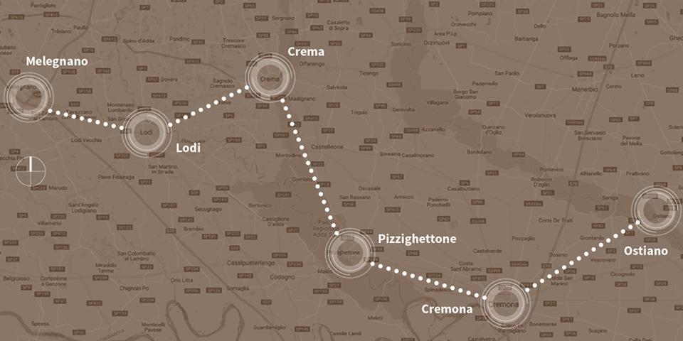 Graphic map river Po and river Oglio