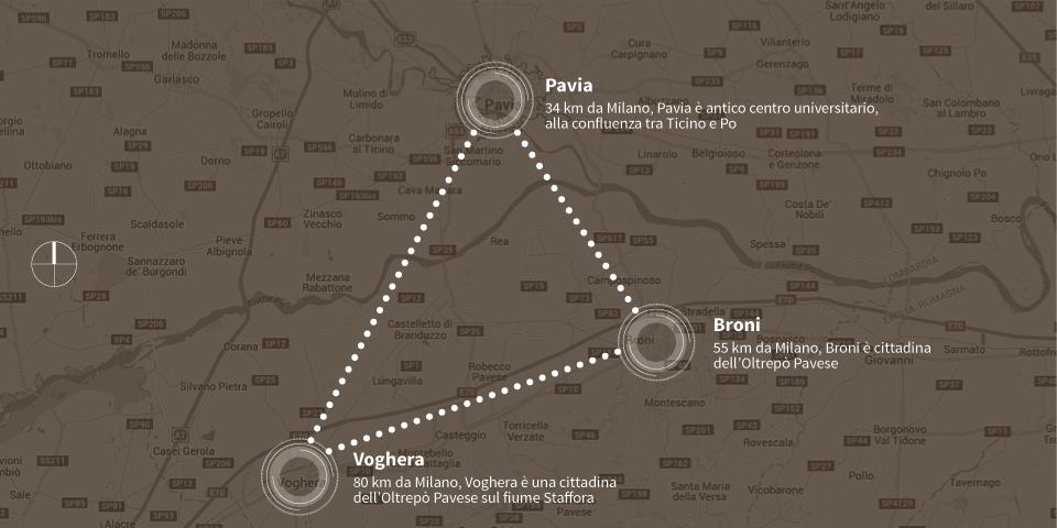 mappa grafica pavia e oltrepo